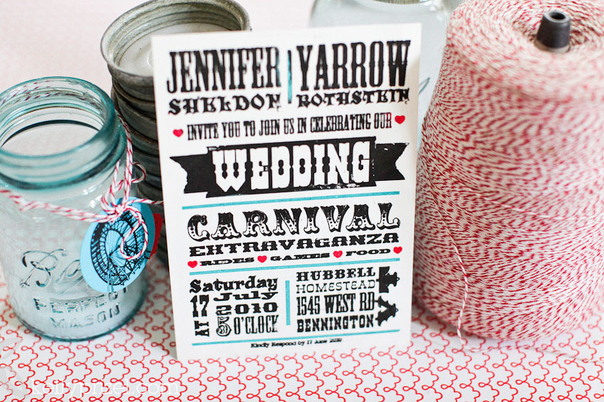 diy carnival wedding invitations