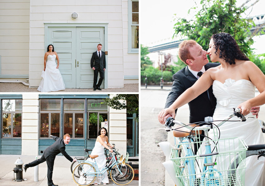 bike wedding pictures in brooklyn