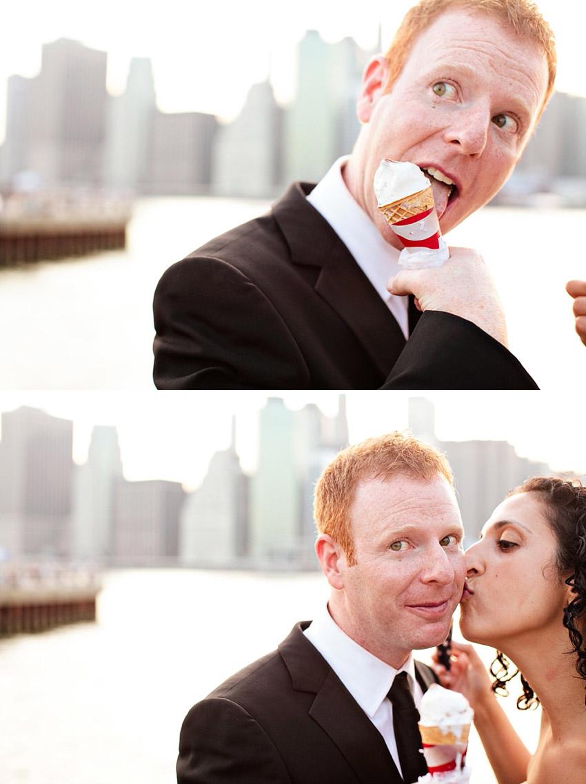 Wedding couple eats ice cream in Brooklyn