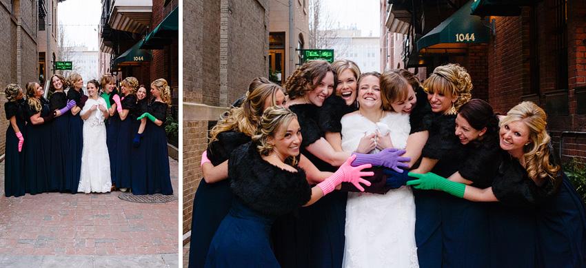 bridesmaids gloves in winter