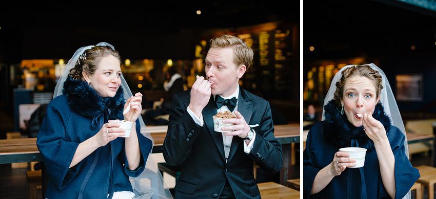 couple eating shake shack during wedding