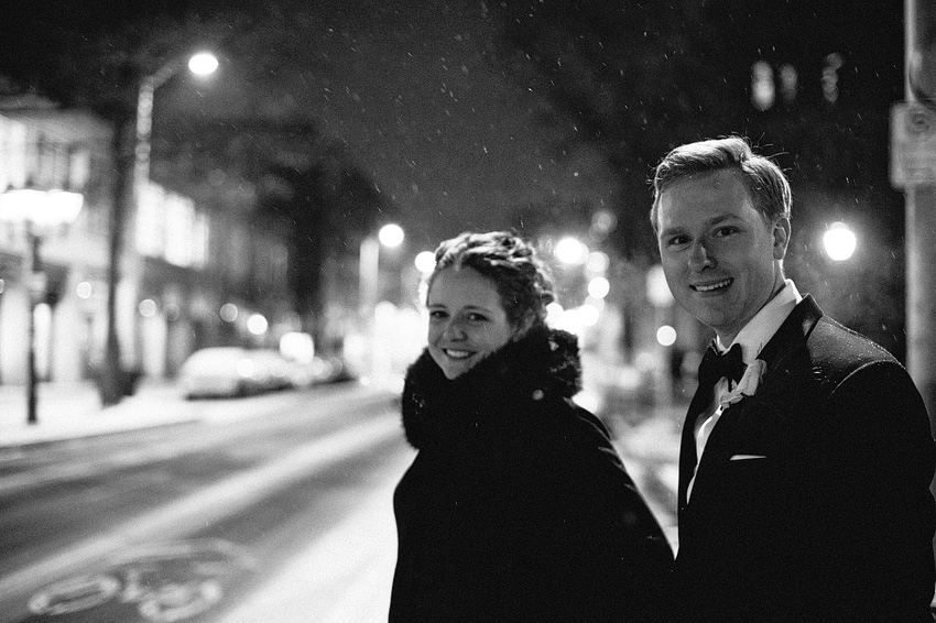 winter wedding at night in downtown new haven