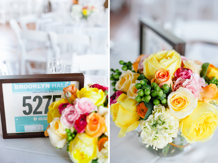 marathon runner bibs used as centerpieces