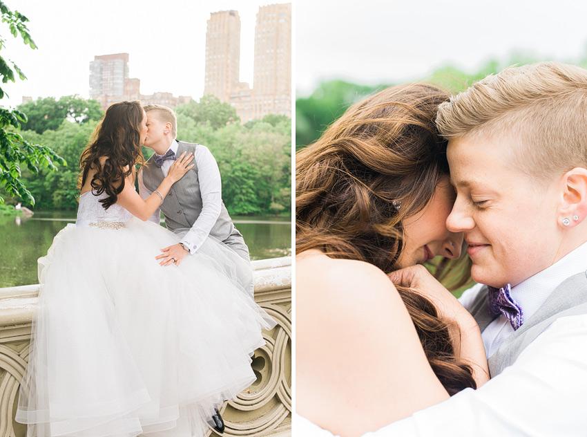 gay couple on bow bridge kissing