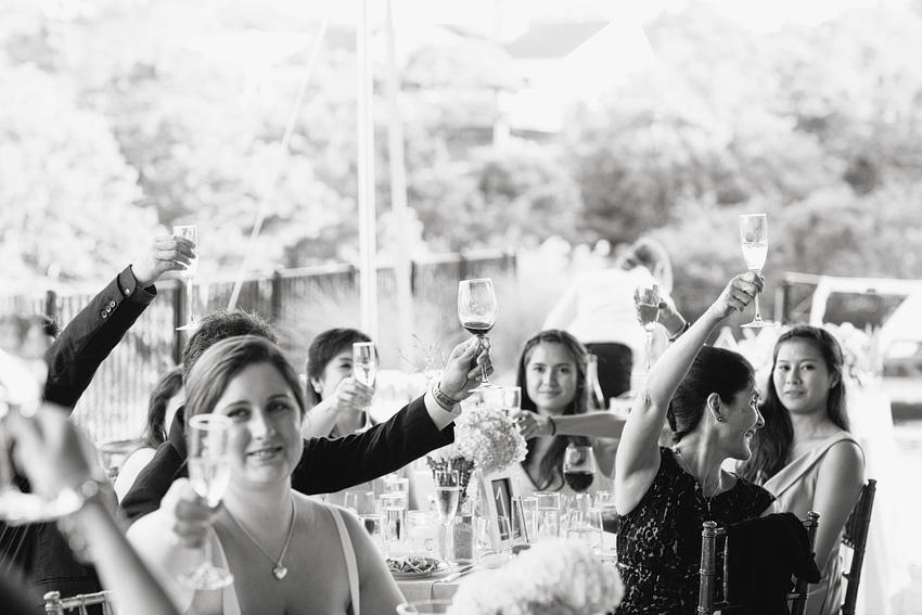 wedding reception guests backyard