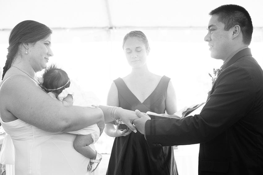 backyard wedding ceremony with baby