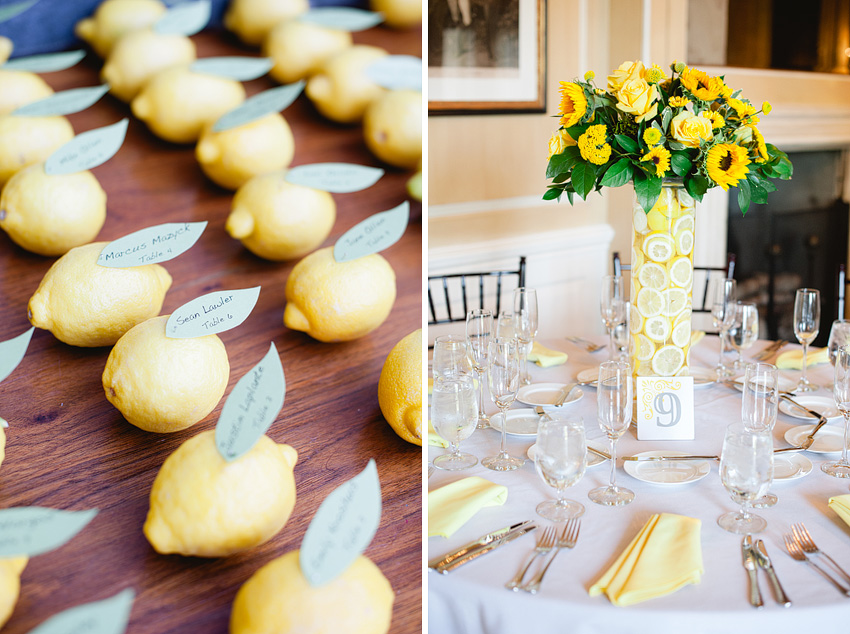 lemon escort cards at wedding reception