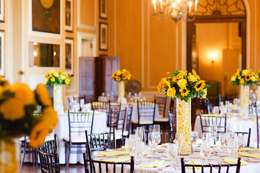 wedding reception decor with sunflowers