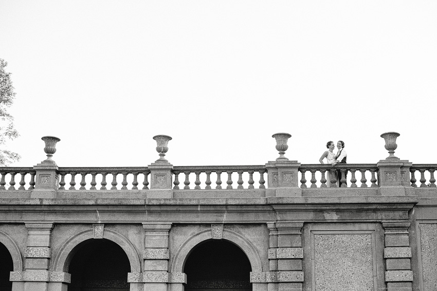 couple standing on balcony at castle hill