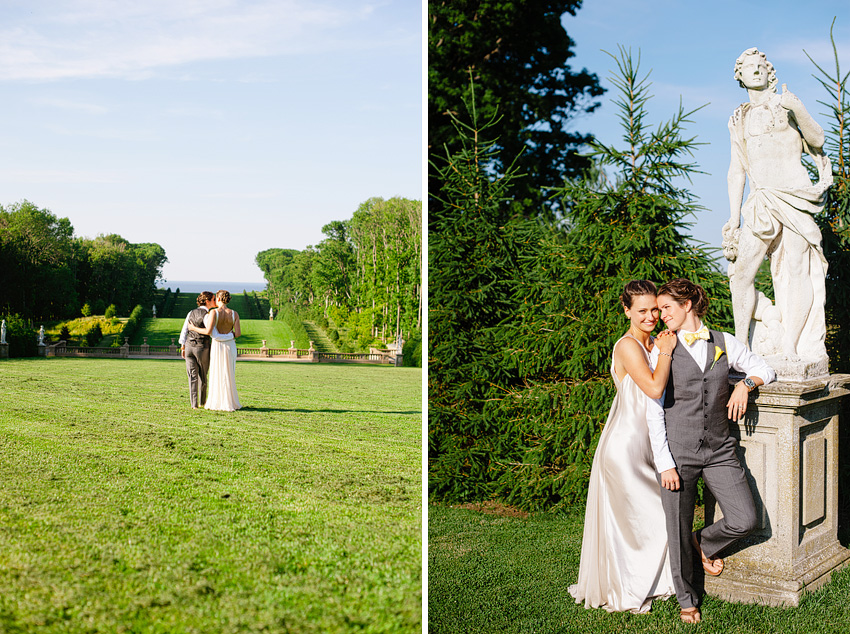 two brides on great lawn at crane estate