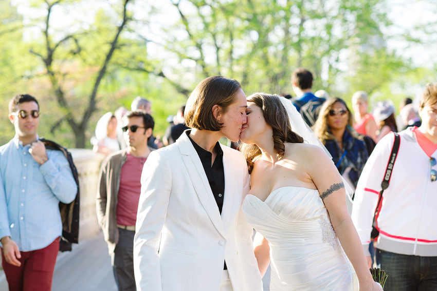 lesbian couple kissing in central park