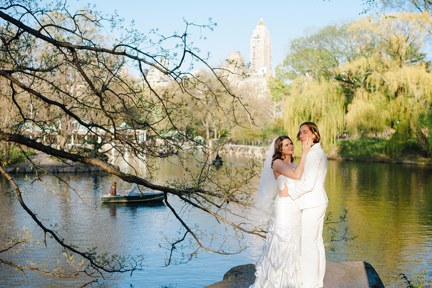 two brides posing in central park