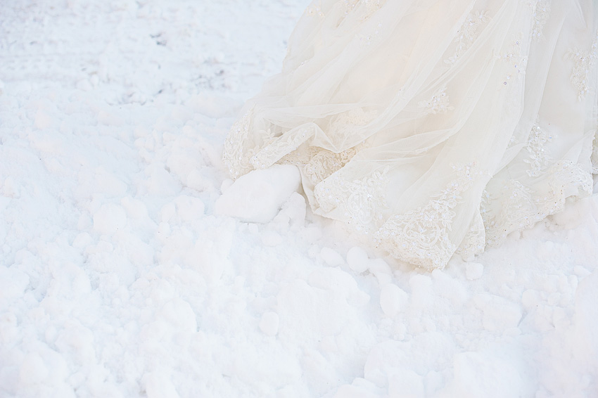 wedding dress in snow