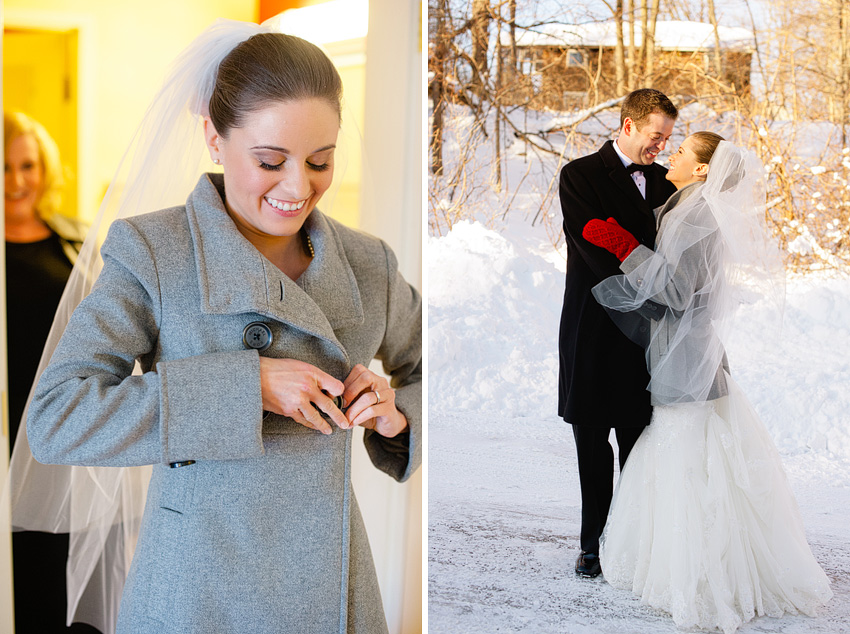 winter bride putting on coat