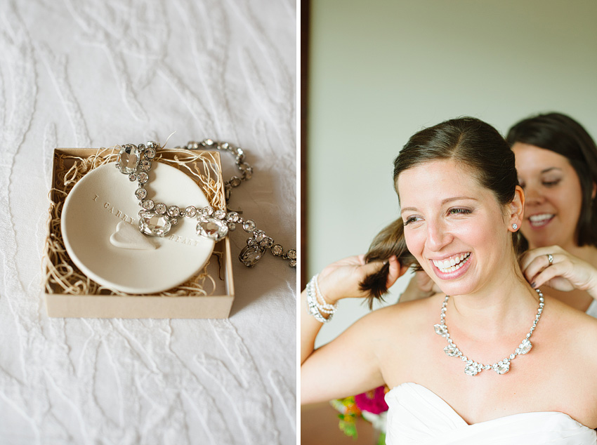 putting on bridal necklace