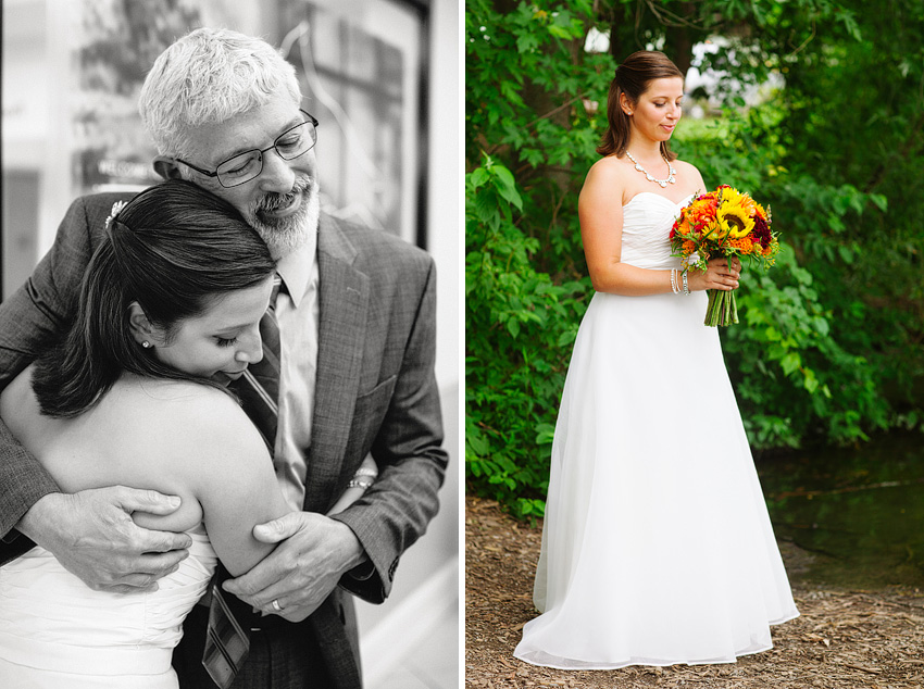 bride embracing father plenty of posies
