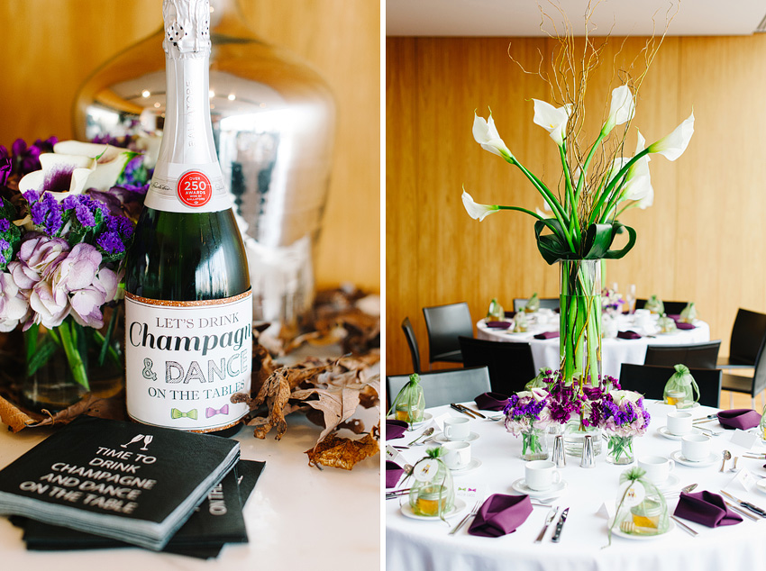champagne and flowers wedding