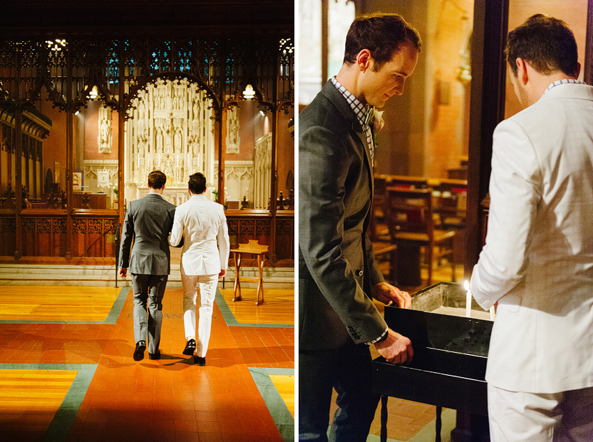 grooms inside church