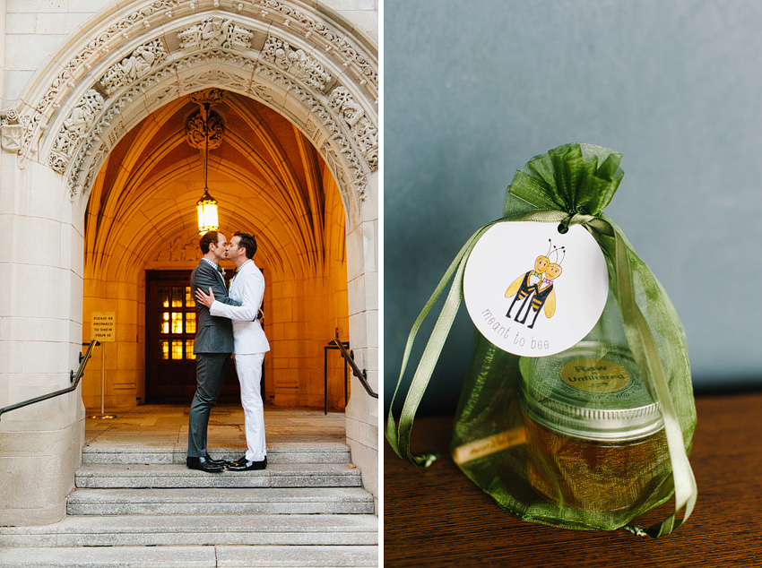 kissing in front of church and wedding favors