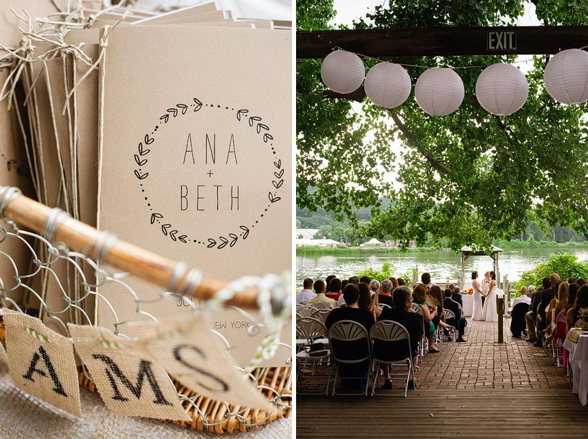 wedding programs and ceremony on dock