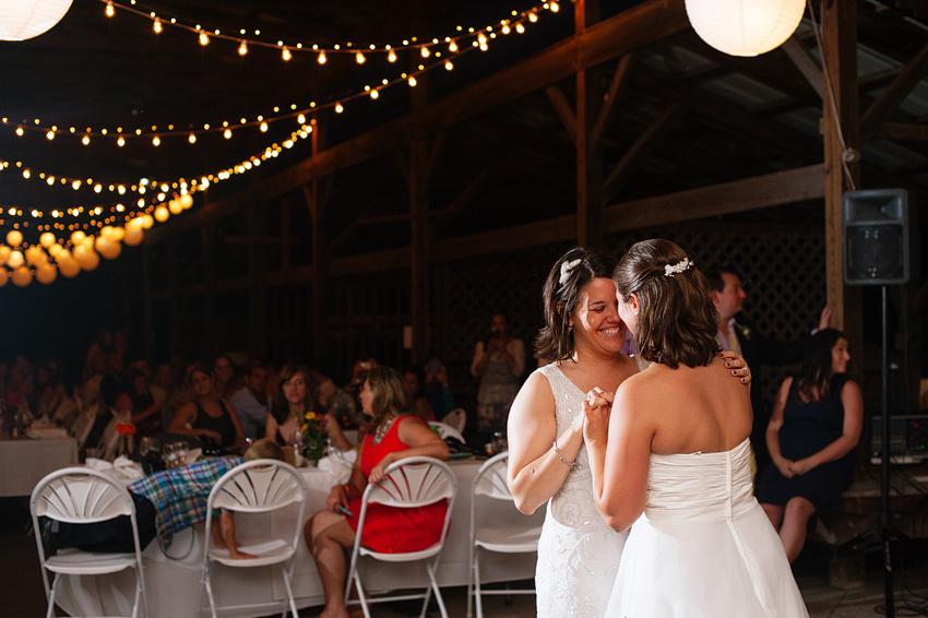 brides dancing together at reception