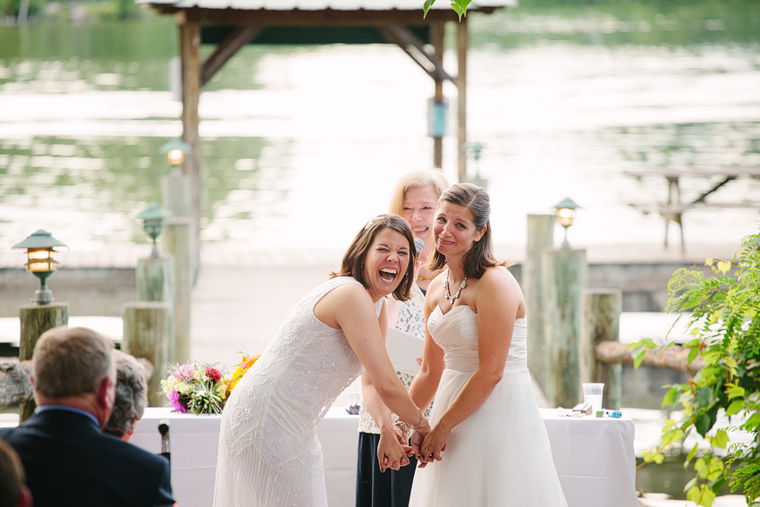 two brides wed on dock