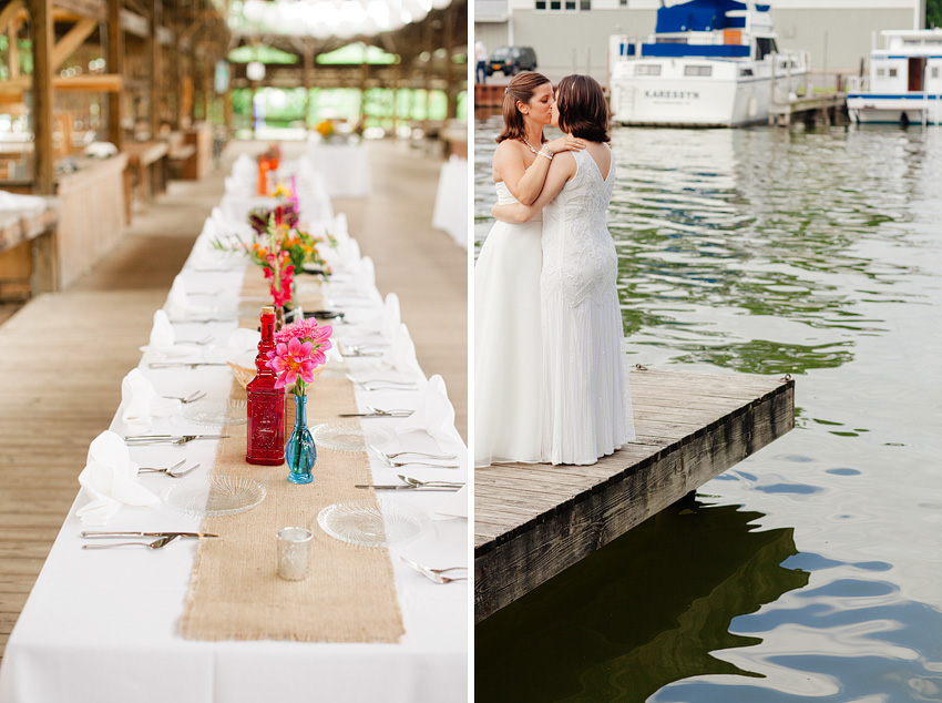 brides kissing on dock