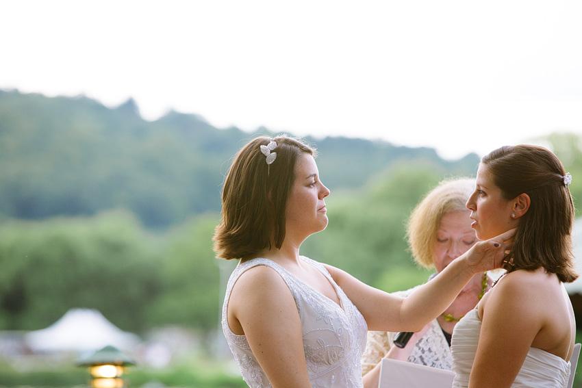 bride pushing hair back