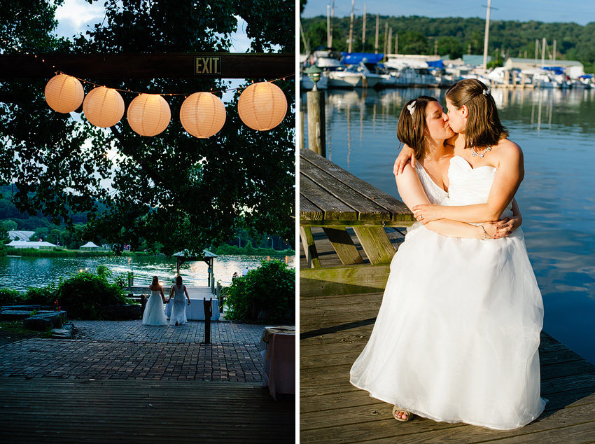 two brides posing on steamboat landing