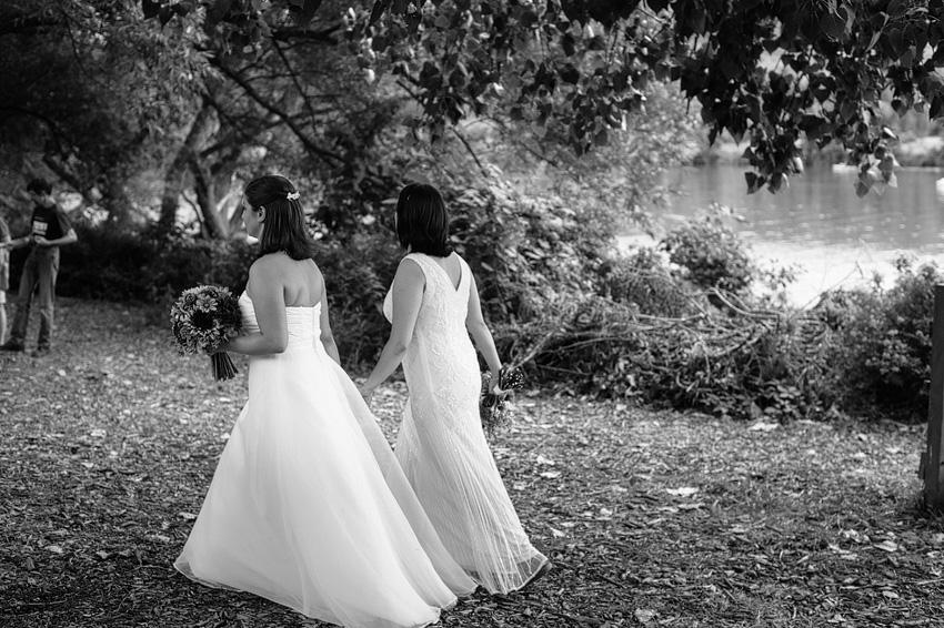 brides walking black and white