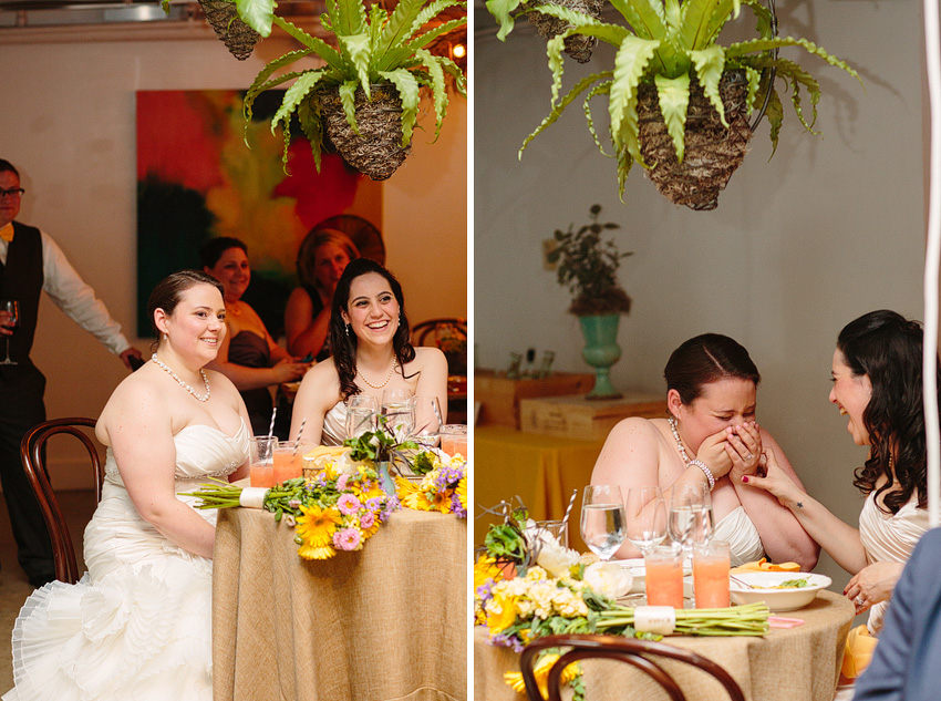 two brides during wedding toasts