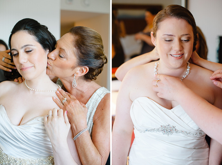 mother kissing cheek of bride