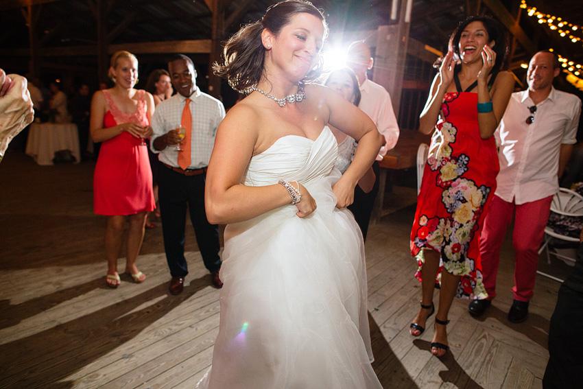 bride having fun at reception