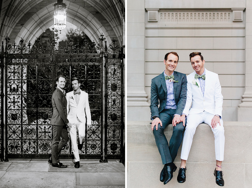 two grooms sitting outside old campus yale