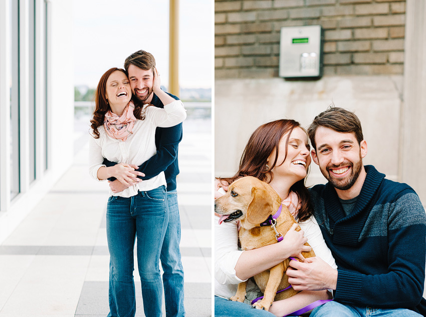 couple laughing with dog in dc engagement