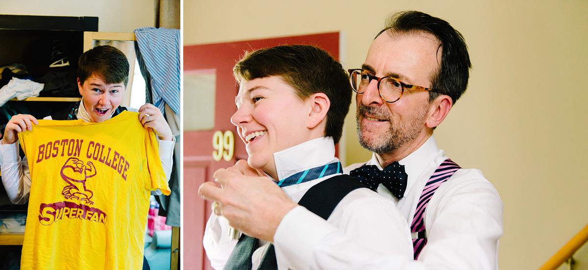 father ties brides bowtie