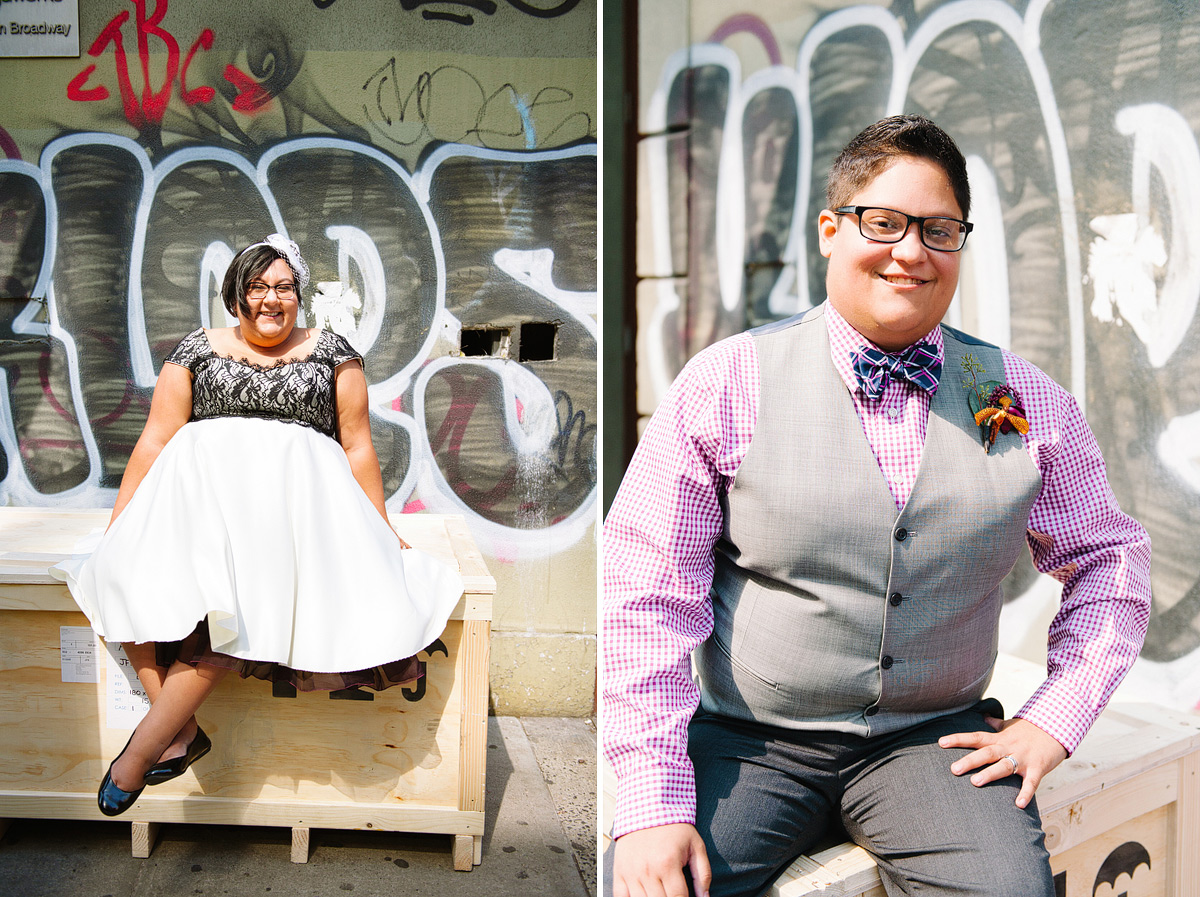 brides pose separately in front of grafitti