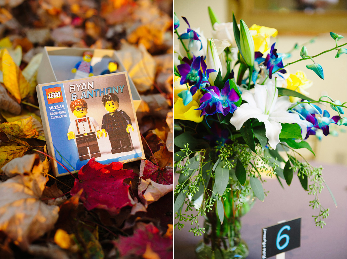 lego wedding favor and flower arrangement