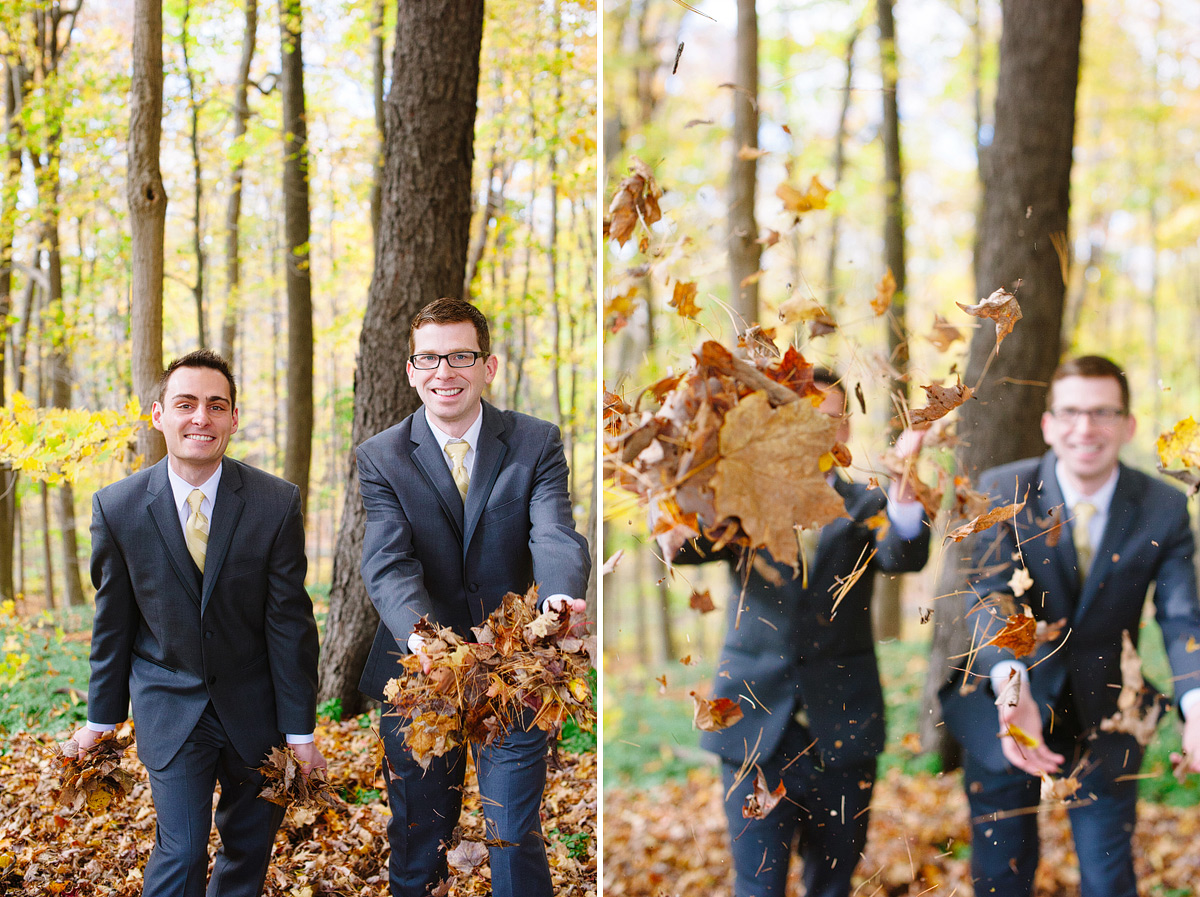 grooms throw leaves