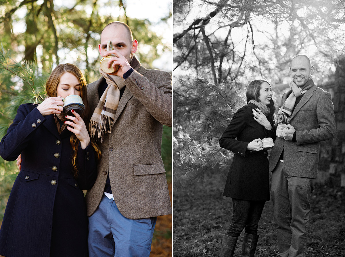couple has coffee in woods