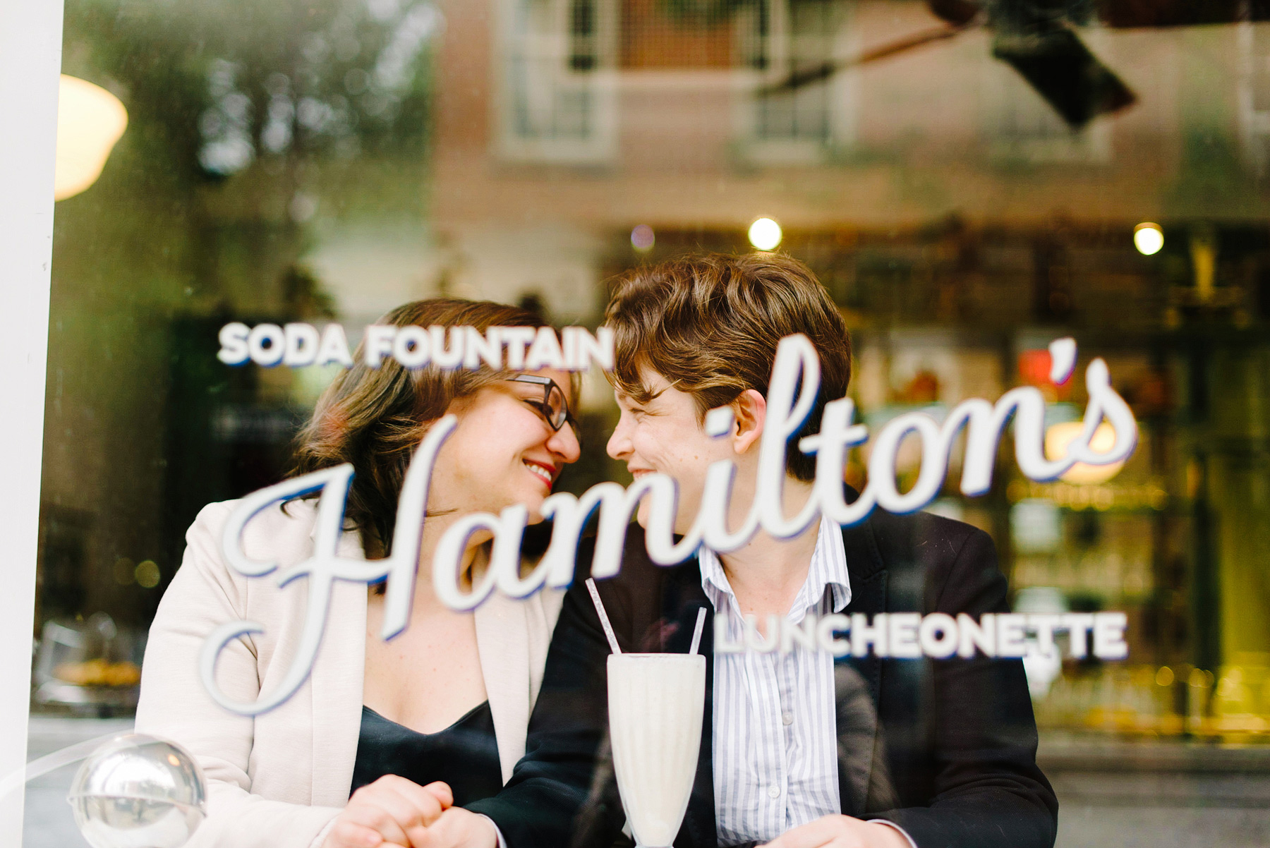couple eating ice cream at hamilton luncheonette in NYC