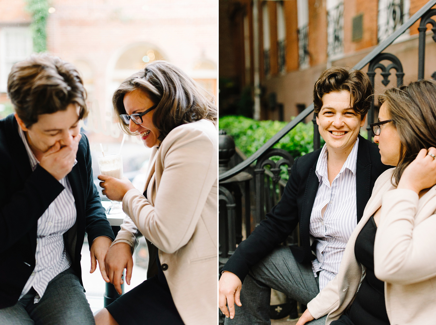 couple having ice cream in west village for engagement photos by kelly prizel