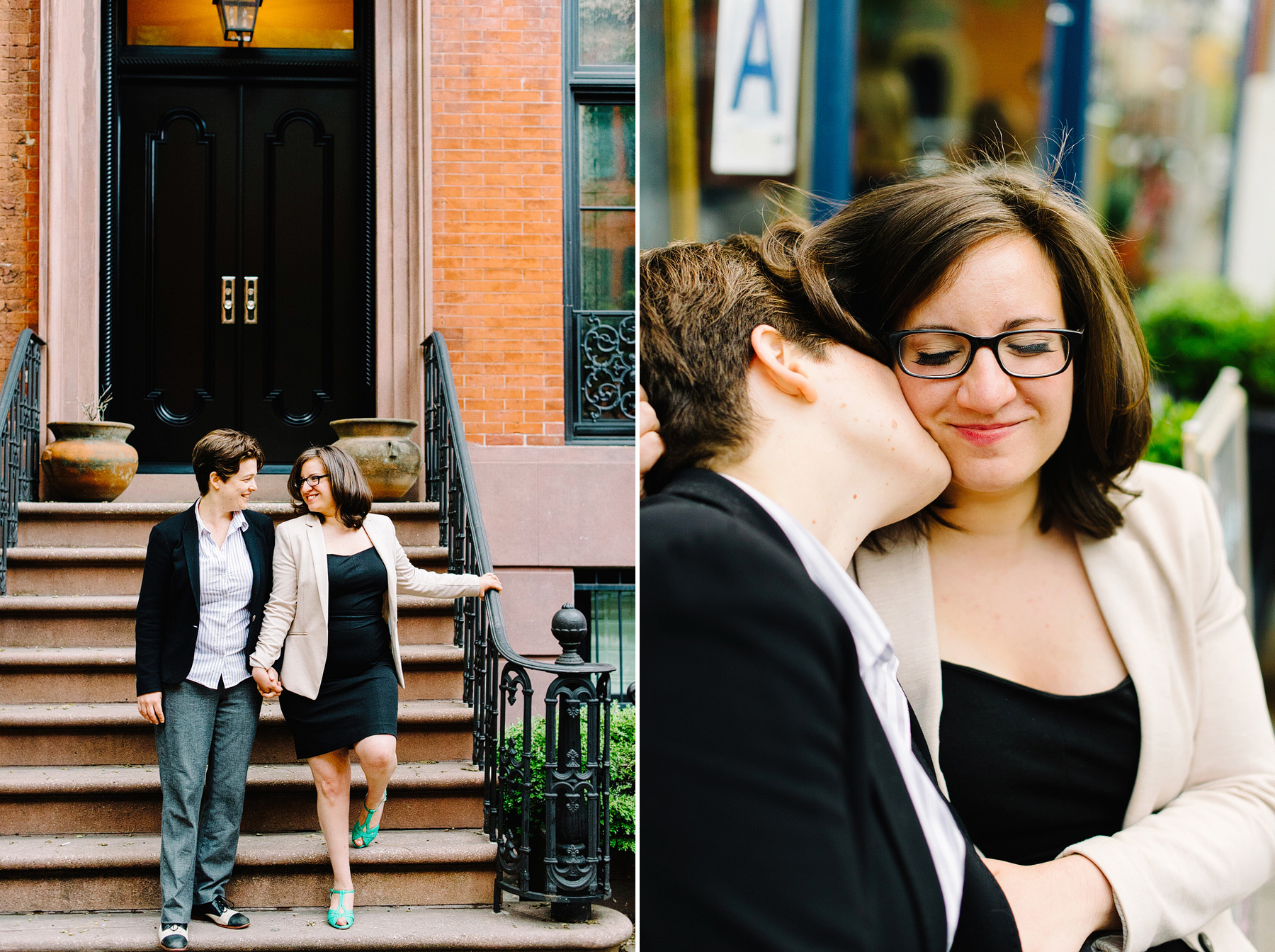 couple on brownstone stairs in west village for engagement