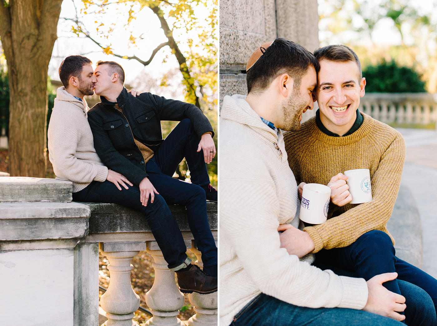 same-sex couple kissing for engagement photos