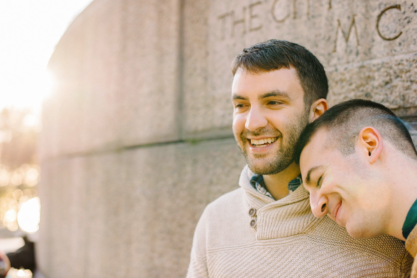 same-sex snuggling for engagement images