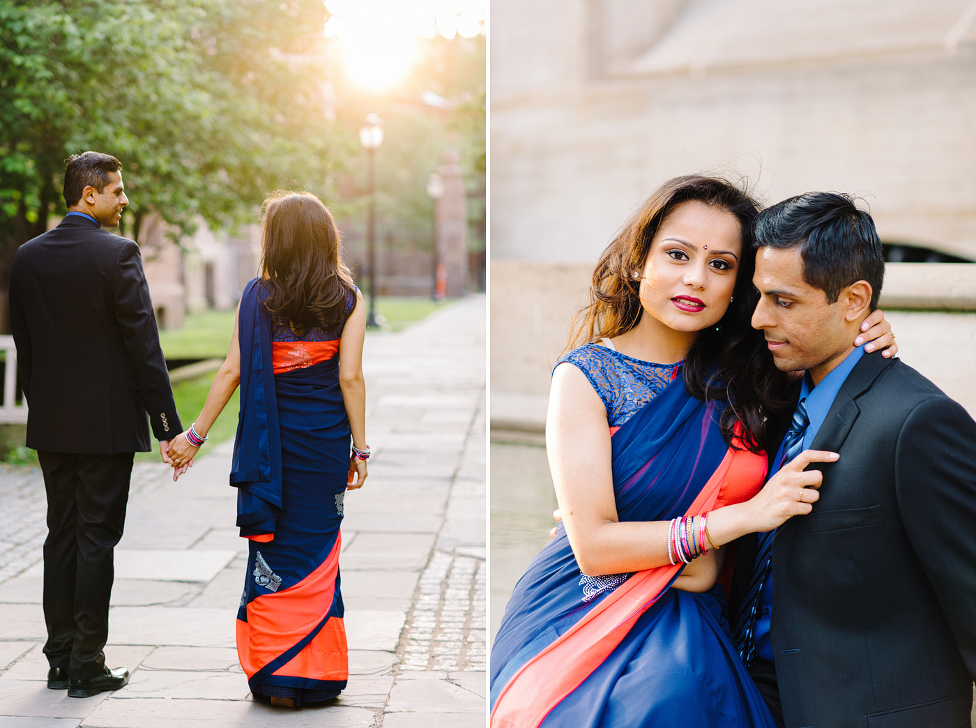bride wearing sari walking with groom