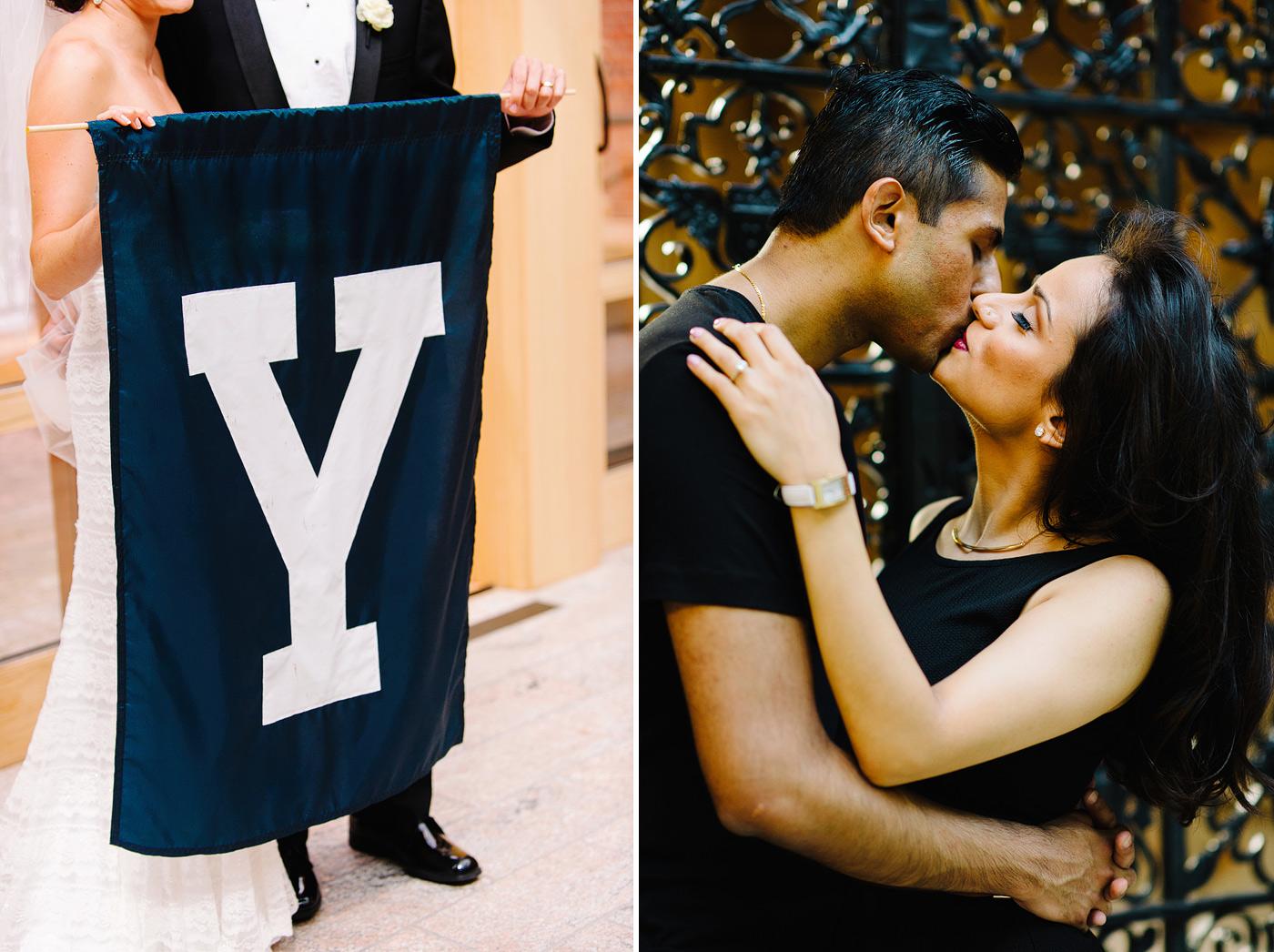 yale alumni couple holding mascot