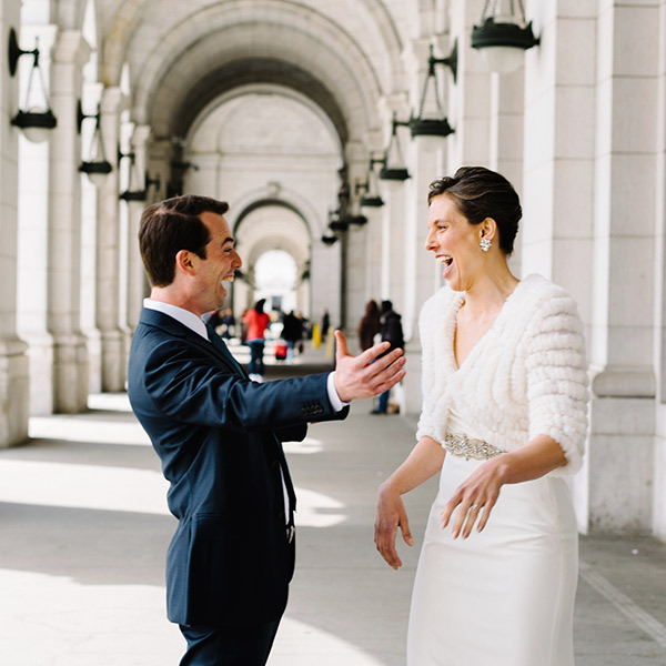 bride and groom first look at union station